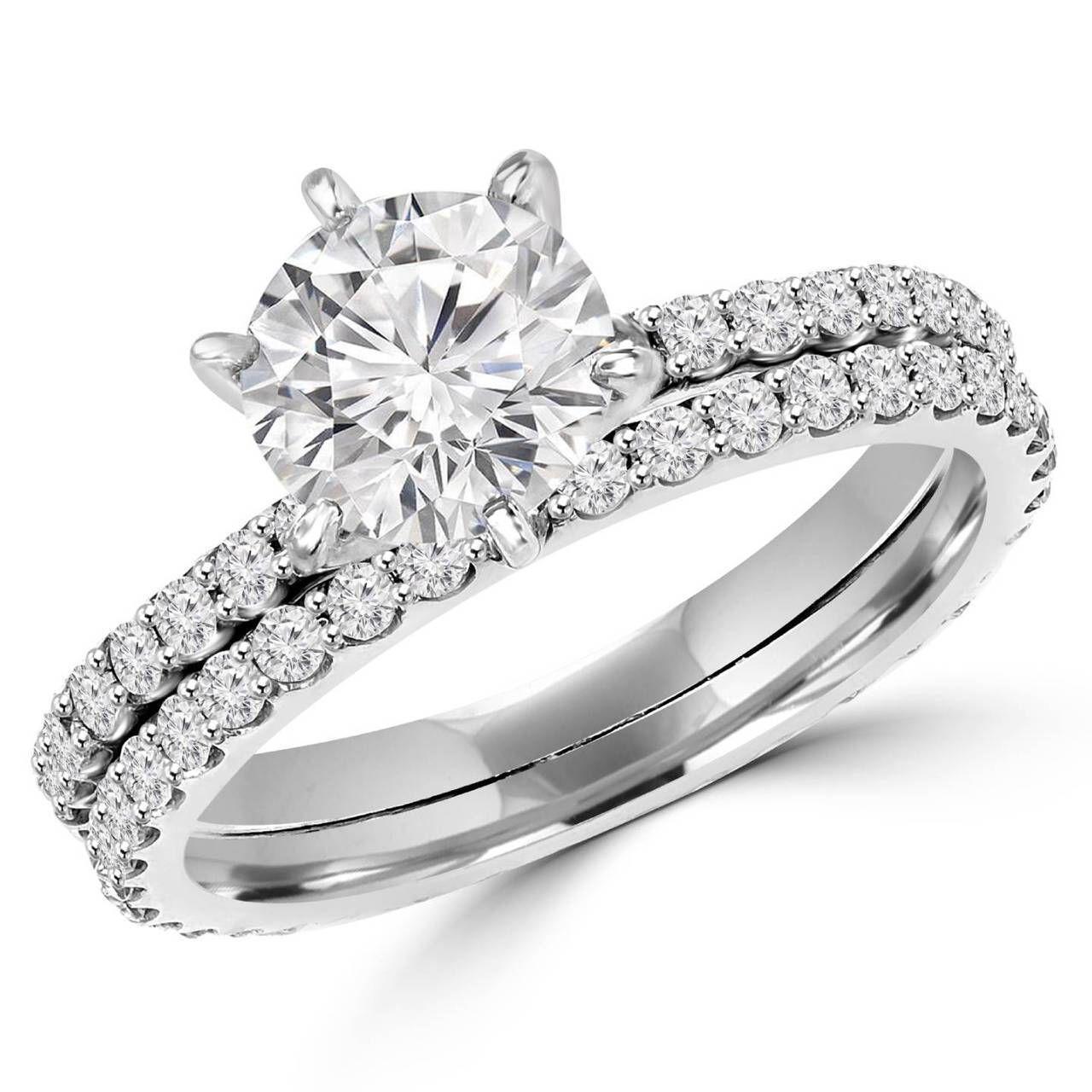 multi band wedding ring Round Cut Diamond Multi Stone 6 Prong Engagement Ring Wedding Band Bridal Set