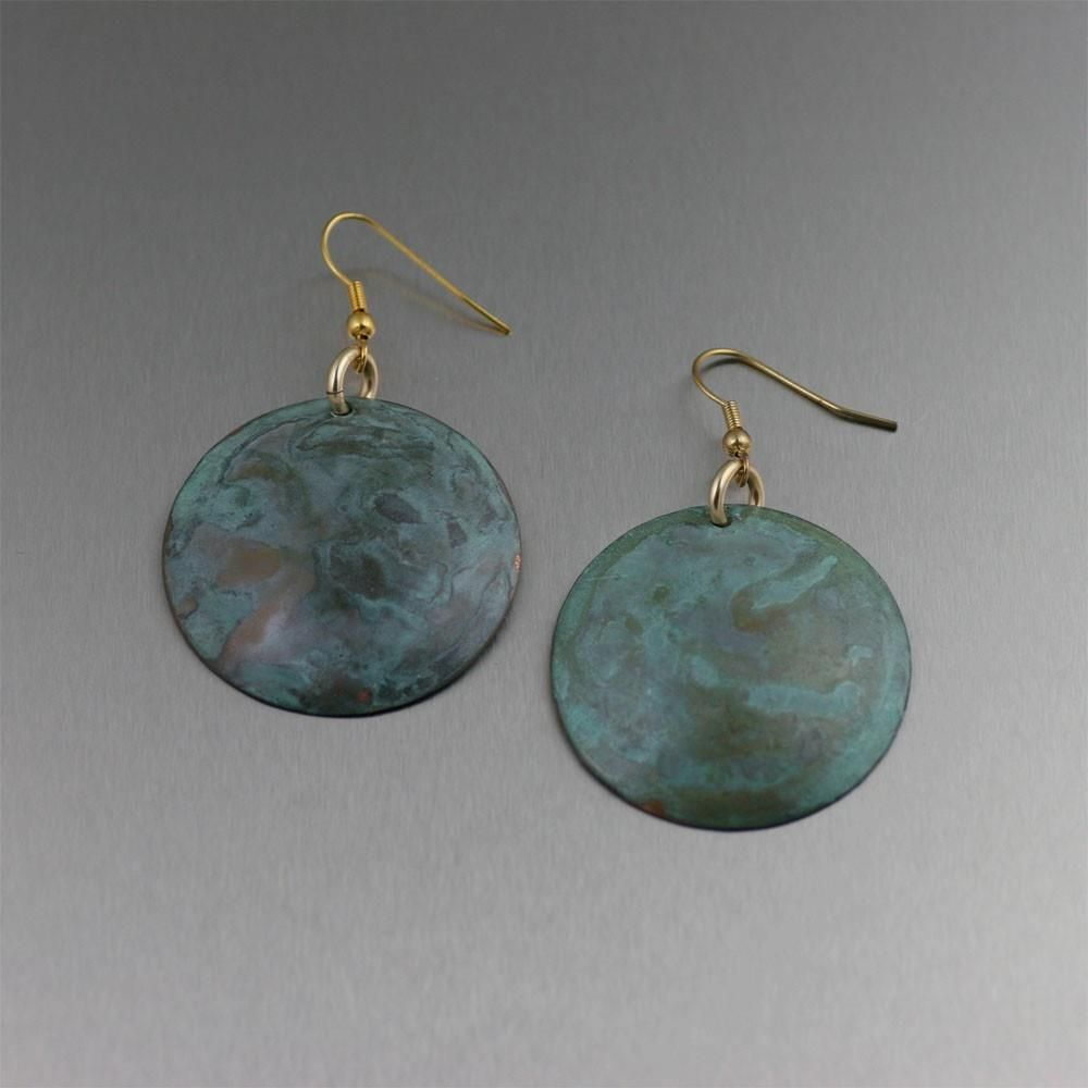 Amazing Green Patinated Copper Disc Earrings  Presented by #ILoveCopperJewelry #CopperGifts #trendy https://www.ilovecopperjewelry.com/green-patinated-copper-disc-earrings.html