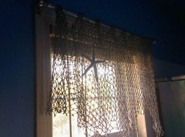 Fishing Net As A Curtain Beach Bedroom Decor Bathroom Window