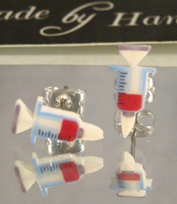 syringe stud earrings phlebotomist by afanaffair on etsy
