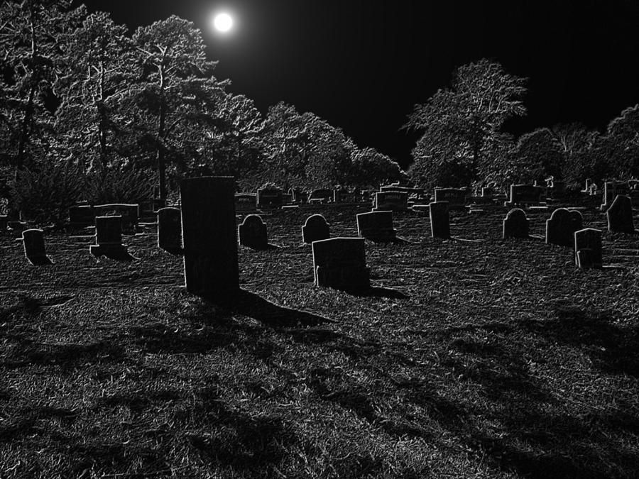 Картинки кладбище ночью, лошади