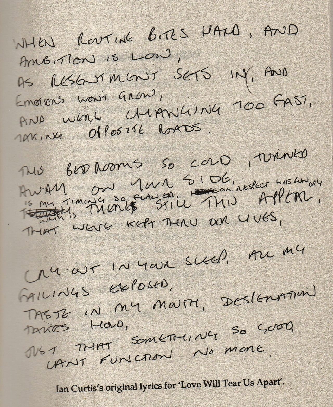 Original Lyrics For Love Will Tear Us Apart By Joy Division Com