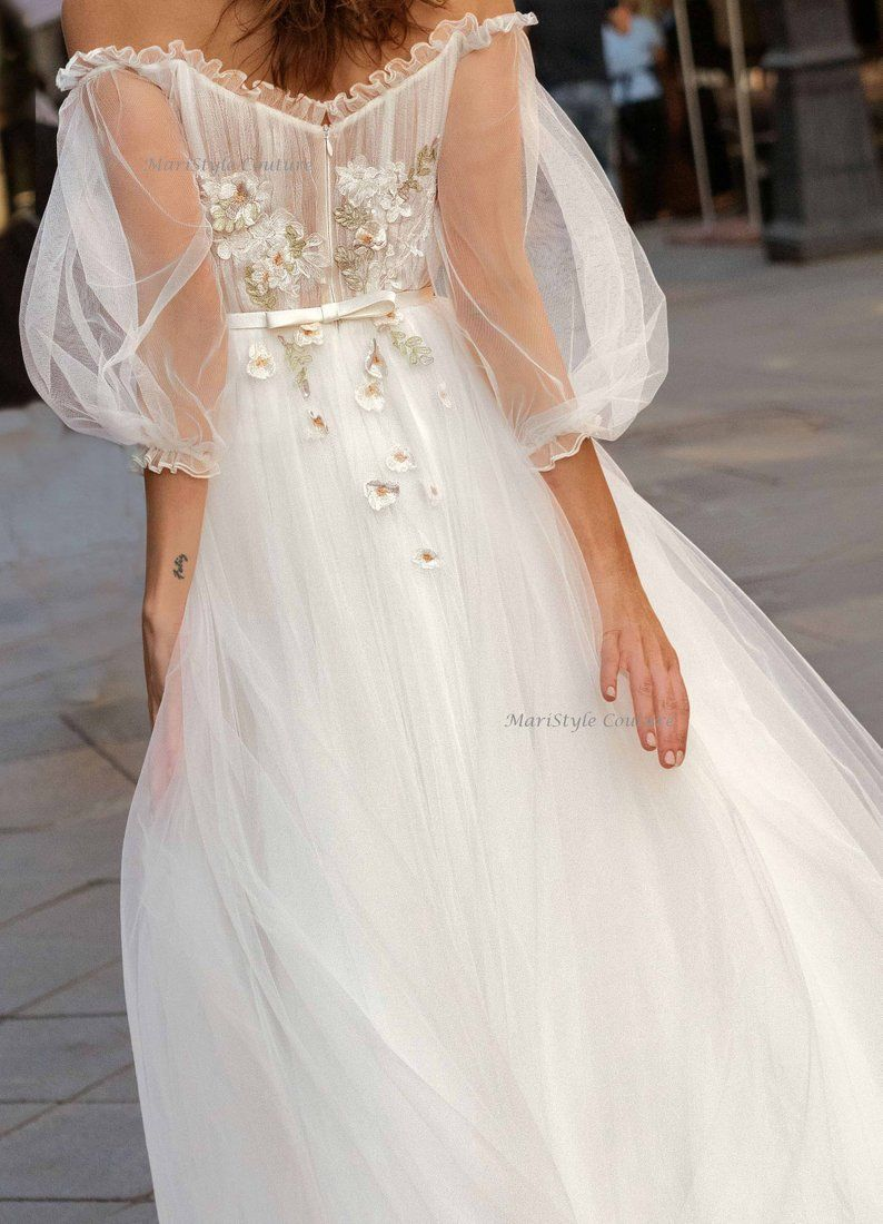 Wedding dress from Tulle, wedding dresses with sleeves, Airy dress, Off shoulder wedding, #fit #fitn...