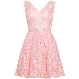 Quiz Pink lace v-neck prom dress