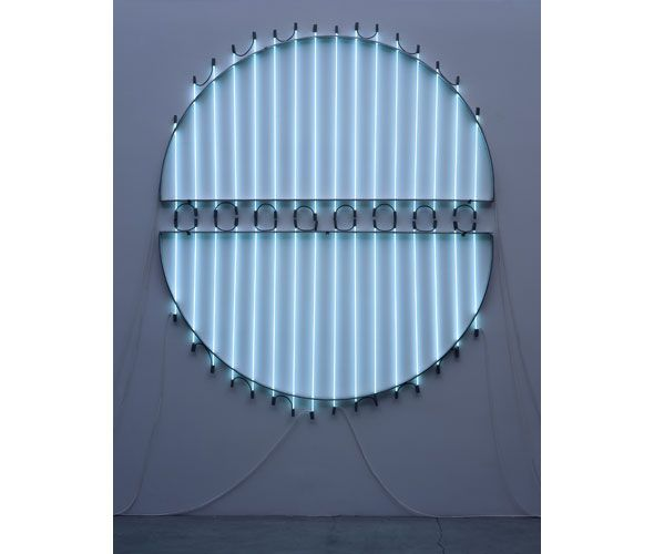 "Pasha Rafat, ""Untitled 2C (83.8 Kr.36)"", 2006 12mm Krypton Tubings with Aluminum 8' 3""(H) x 7'(W)  Born in Tehran, lives and works in Las Vegas."