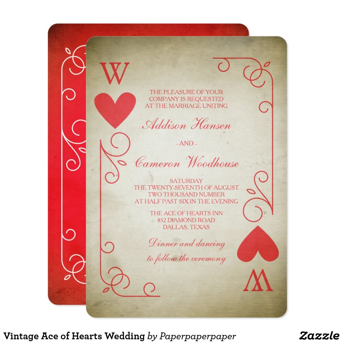 Vintage Ace of Hearts Wedding Card | Wedding card, Unique wedding ...