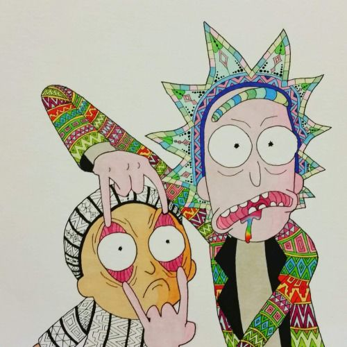 Rick and Morty Copic markers 1920x1920 via /r/Art...