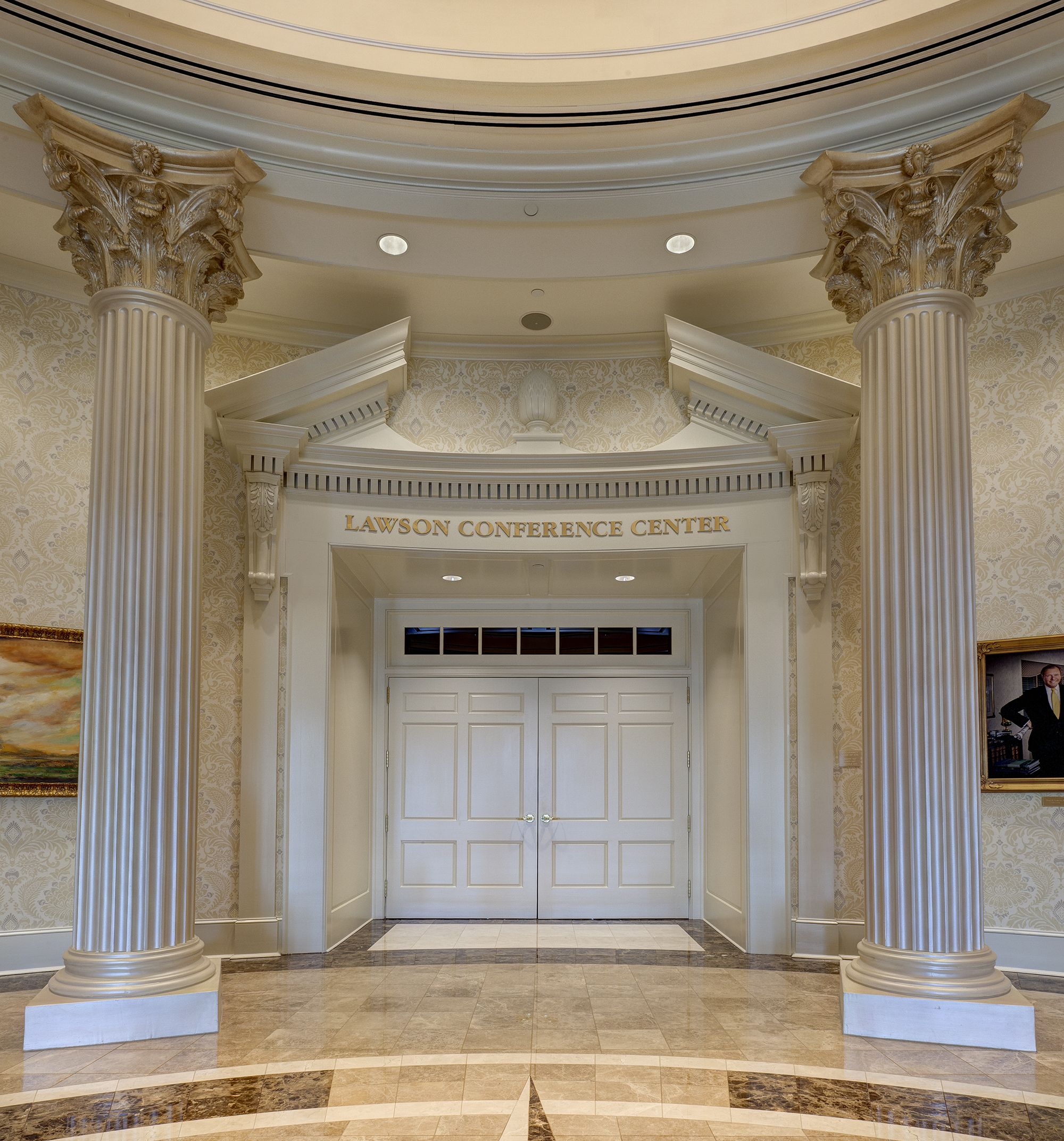 The double door entry to the main conference space in Towne University features an ornate vintage & The double door entry to the main conference space in Towne ...