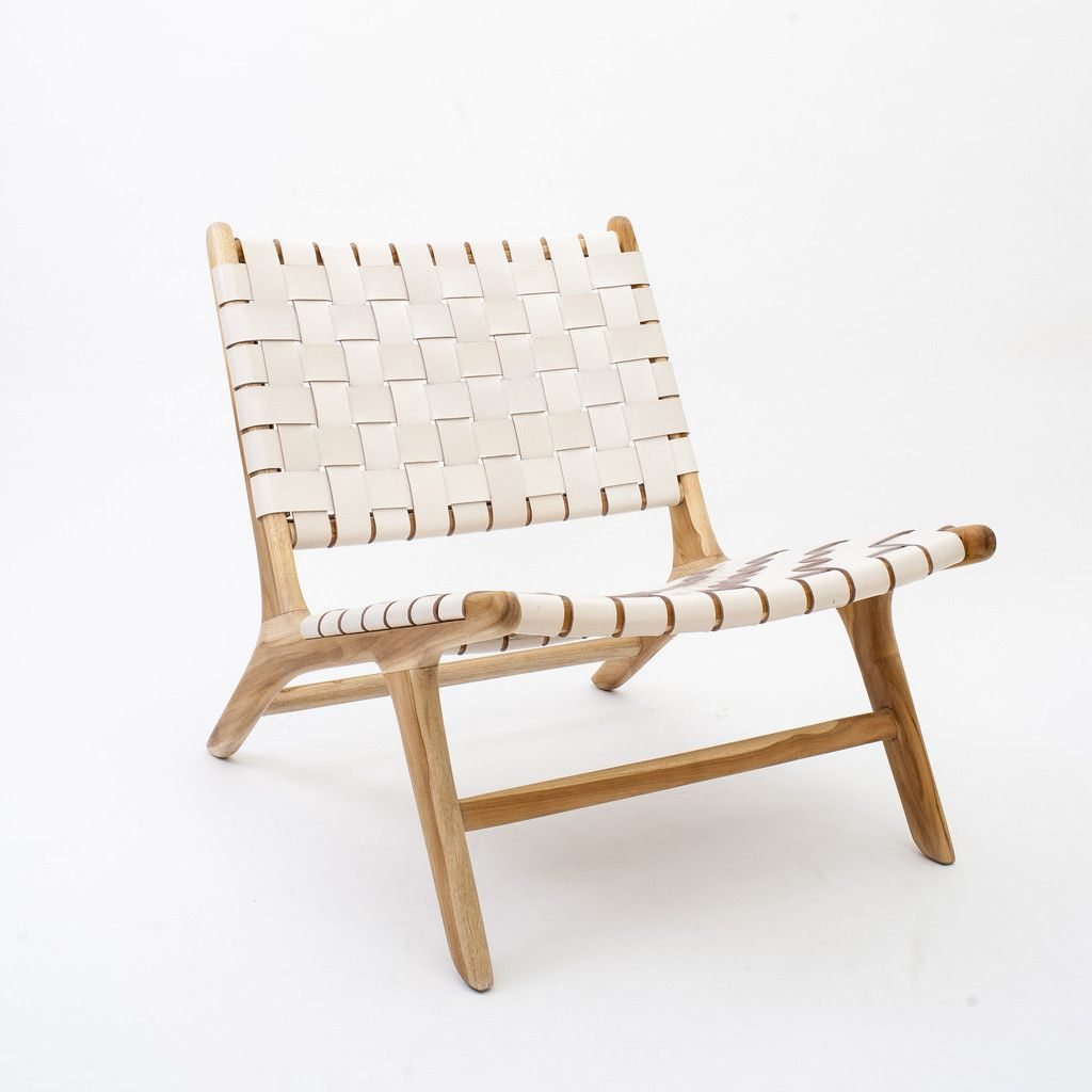 Wood Leather White Woven Lounge Chair Dream