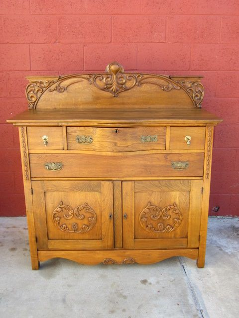 American Antique Cabinet Sideboard Cupboard Antique Furniture - Early American Solid Oak Knockdown Armoire Primitive Antique