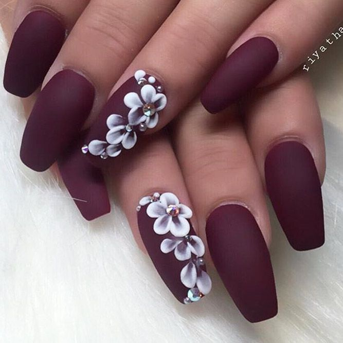Burgundy Nails With White Design