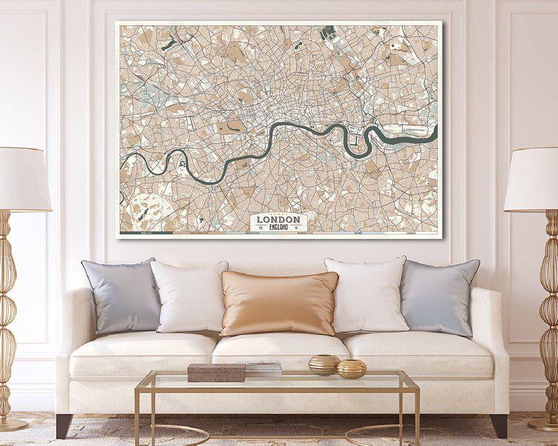 London England Canvas Print Map Retro Style Large Ready To Etsy Panoramic Wall Art Horizontal Wall Art Etsy Wall Art