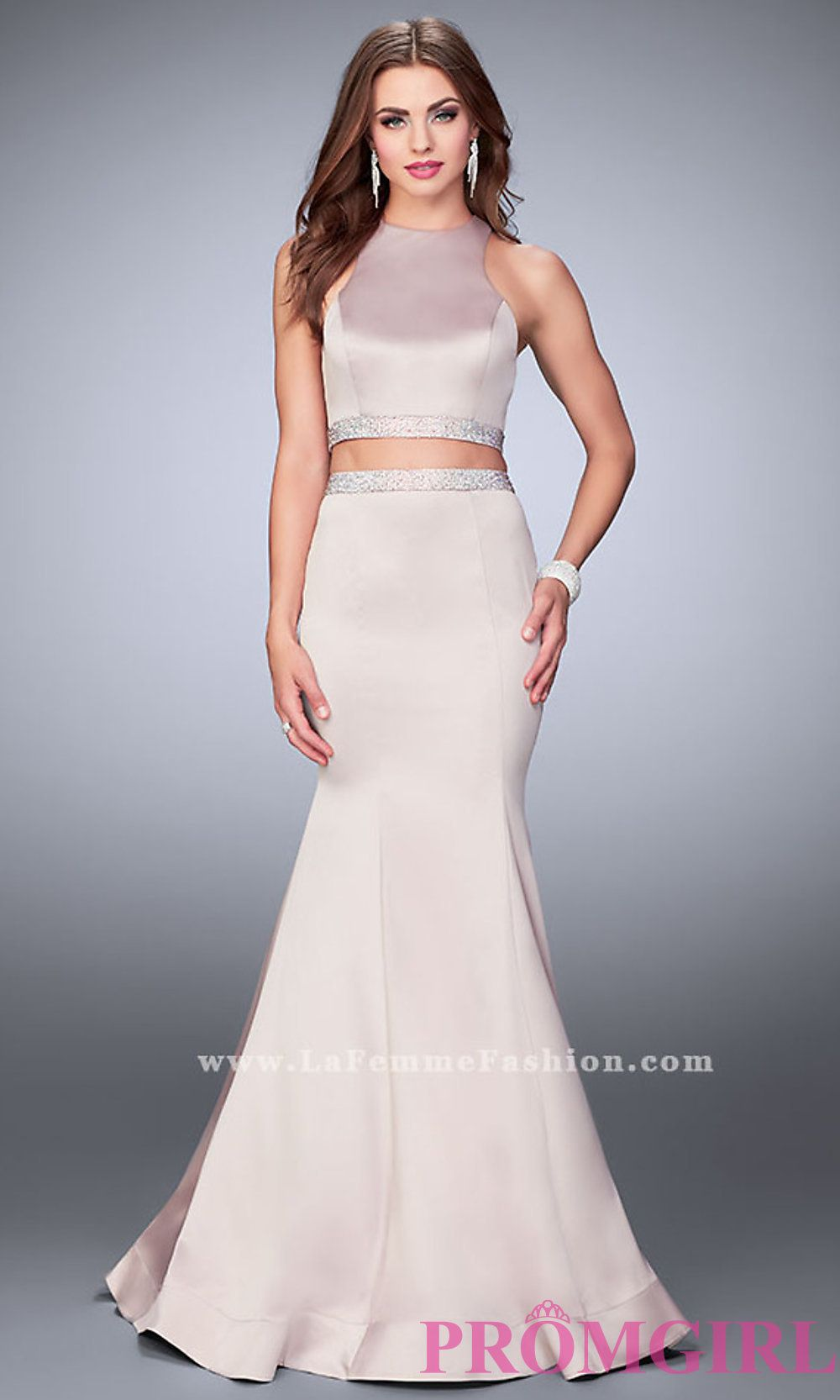 Long two piece high neck mermaid prom dress with a beaded waist by