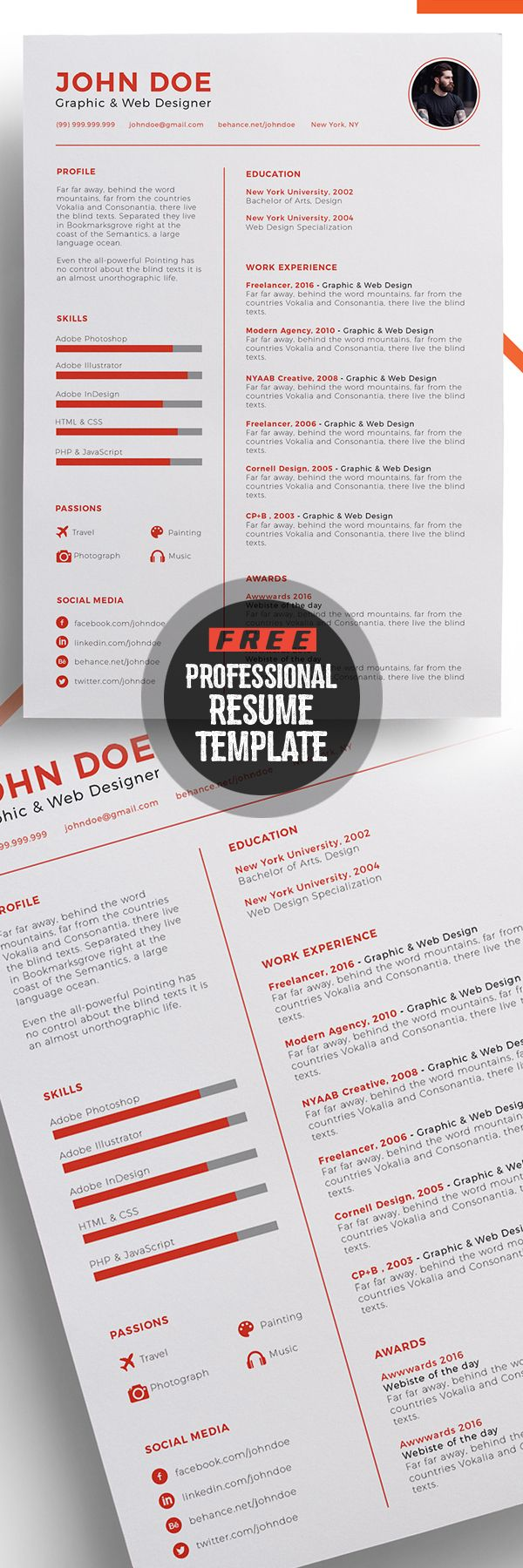 Professional Free Resume Template Design | ~ Graphic ressources ...