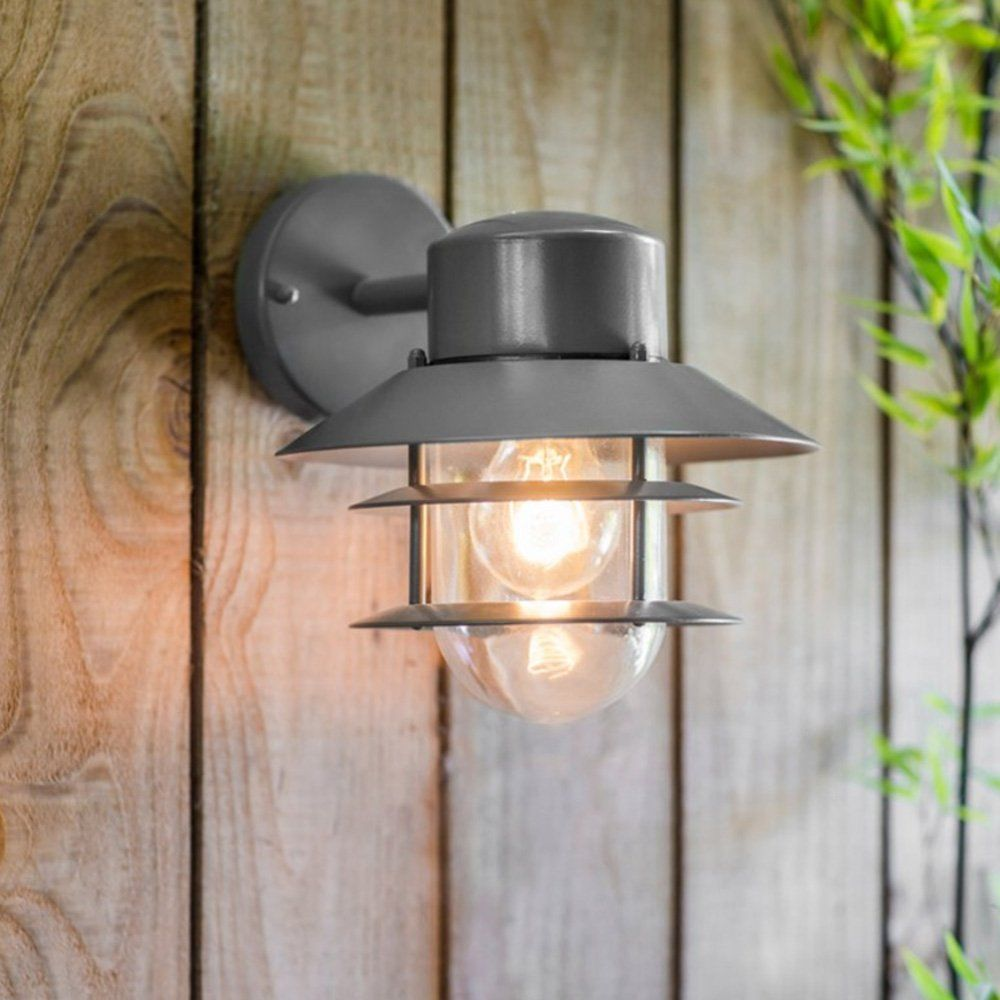 Grey outdoor wall light with metal shade front garden pinterest