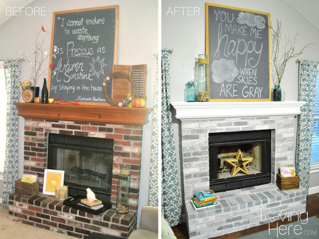 Should I Whitewash My Brick Fireplace Comparison Photo