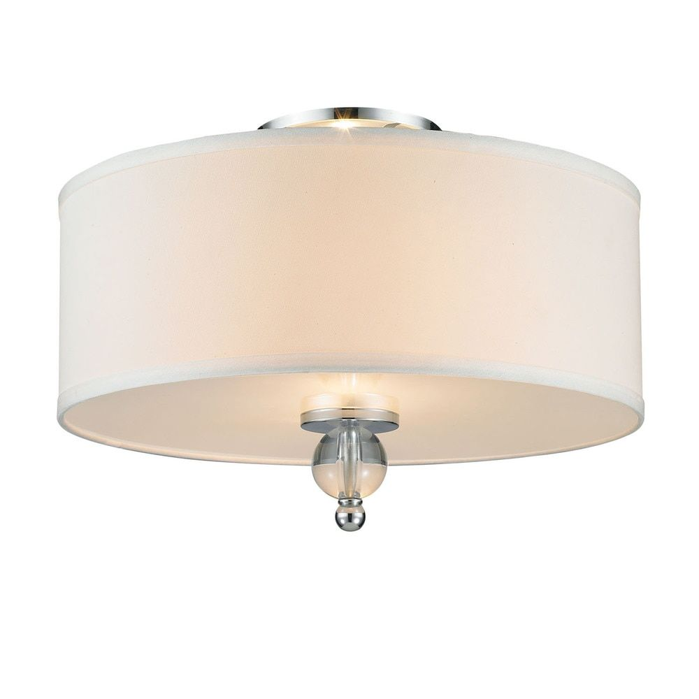 Genova chrome steel and fabric drum shade flush mount light fixture genova chrome steel and fabric drum shade flush mount light fixture arubaitofo Image collections