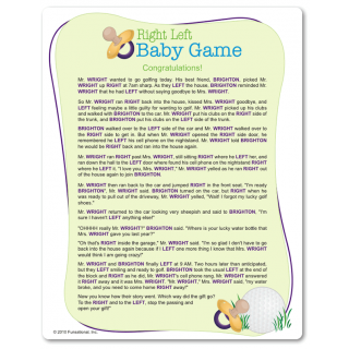 Printable Right Left Baby Shower Game: Pass The Wrapped Gift Left Or Right  As The