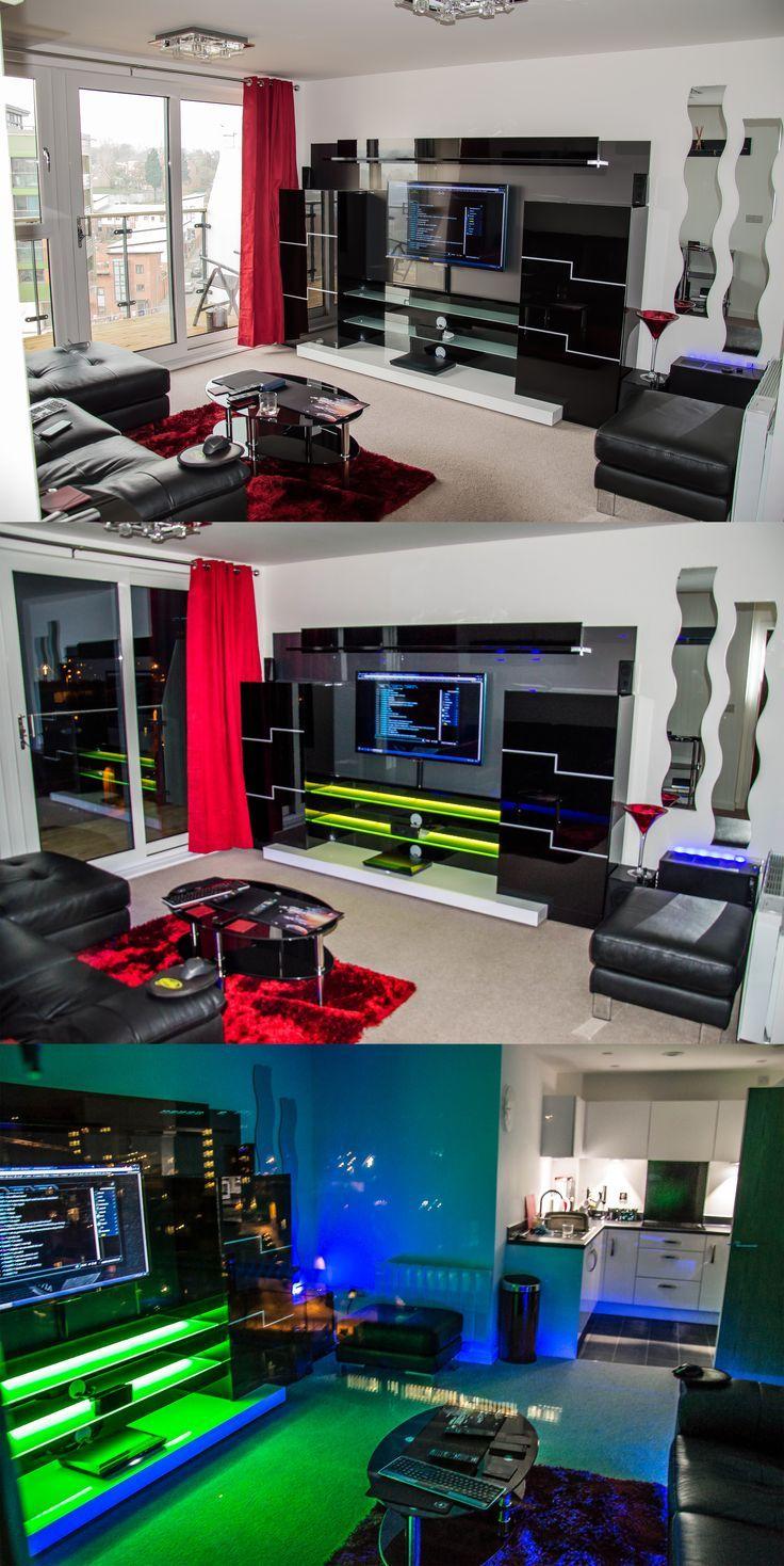 LED Lighting in a sleek Media Entertainment Center via