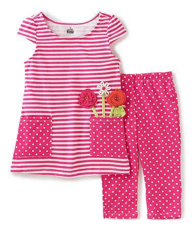 Little Girls Newborn Fuchsia Dot Legging Set