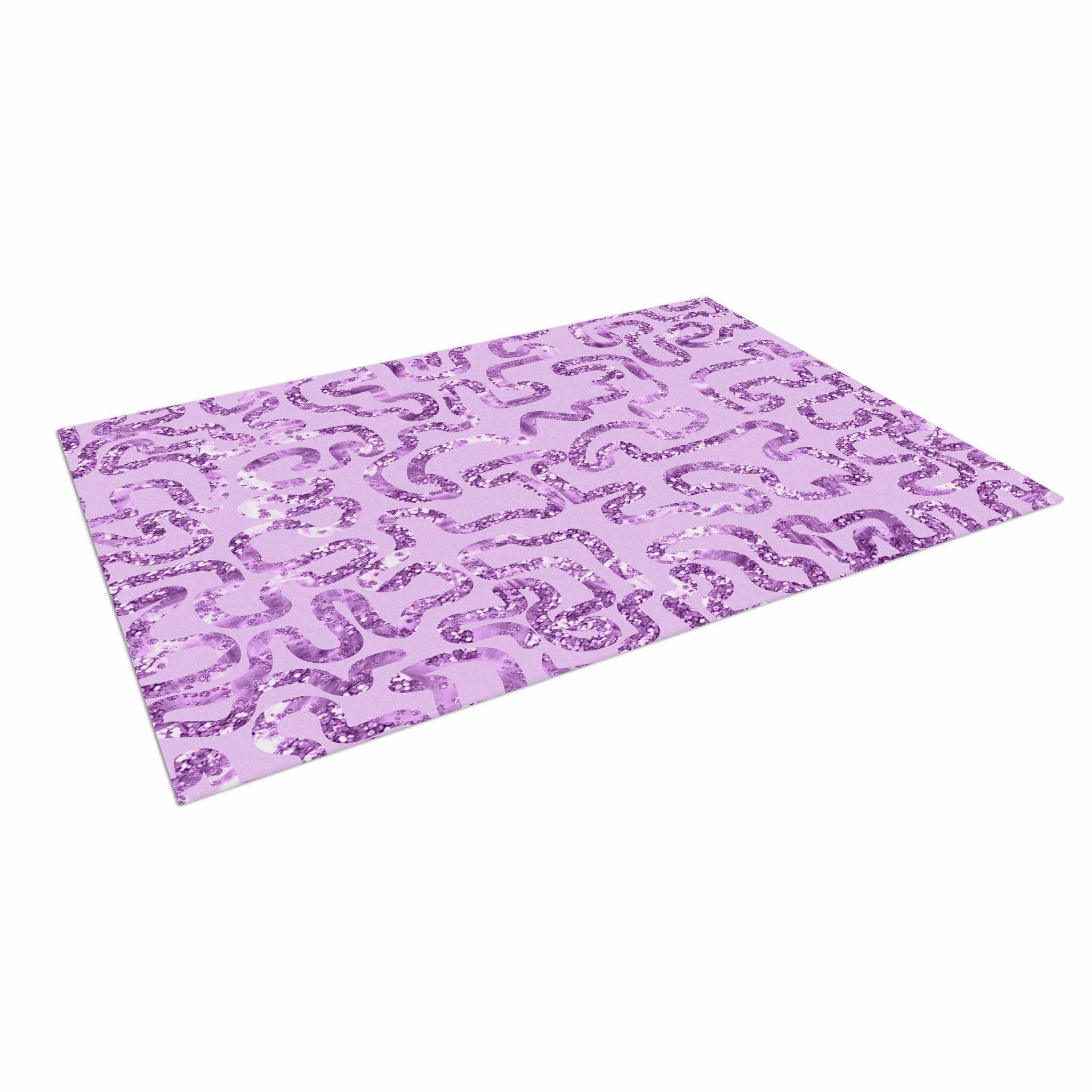 """Anneline Sophia """"Squiggles in Purple"""" Lavender Indoor / Outdoor Floor Mat"""