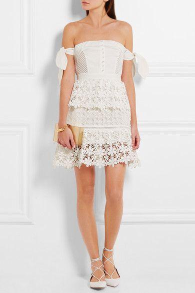 White Off The Shoulder Guipure Lace And Twill Mini Dress Self Portrait Pretty White Dresses Mini Dress Dresses