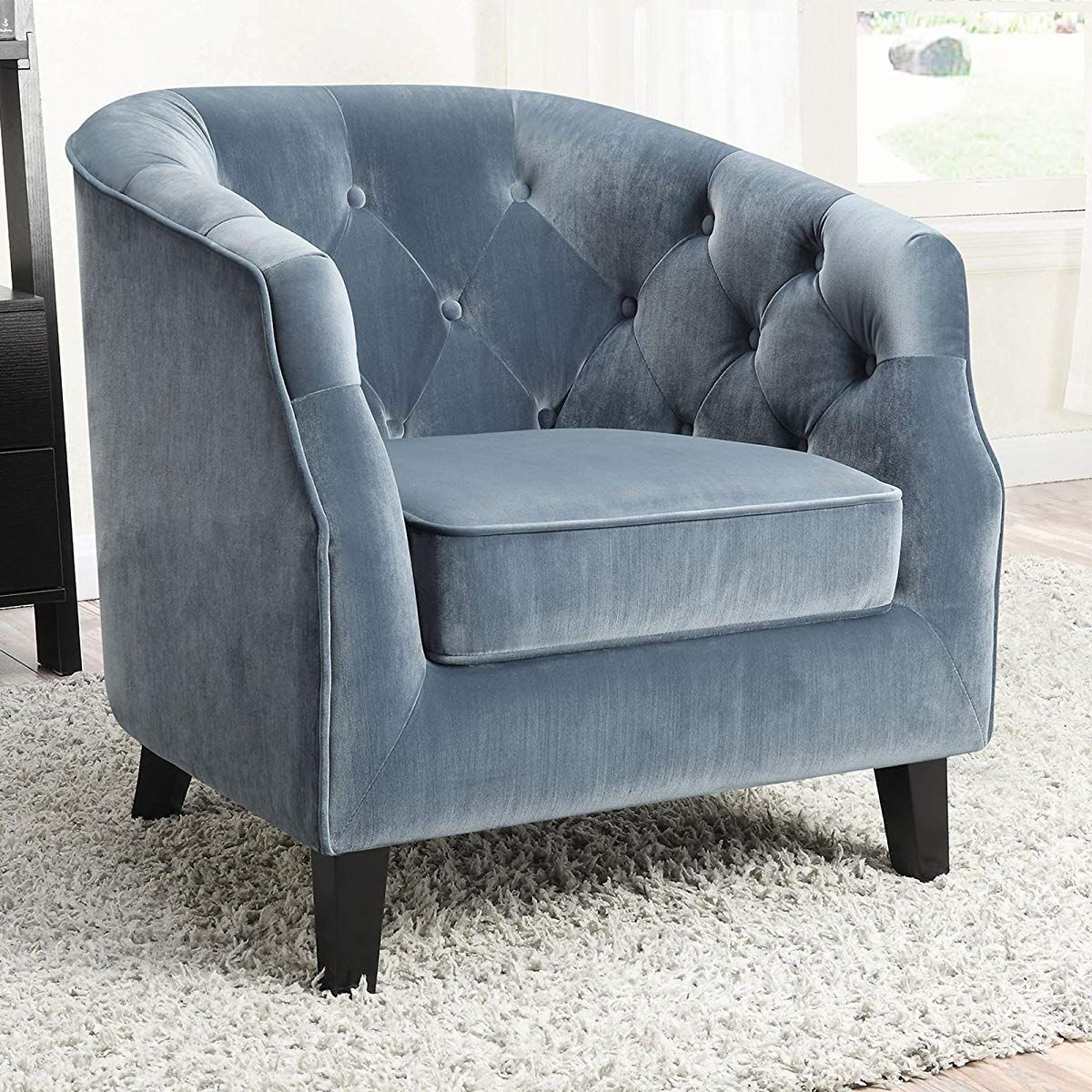 Velvet Upholstered Tufted Accent Chair Blue Accent Chair