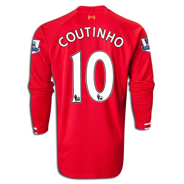 Warrior Philippe Coutinho Liverpool Long Sleeve Home Jersey 13/14