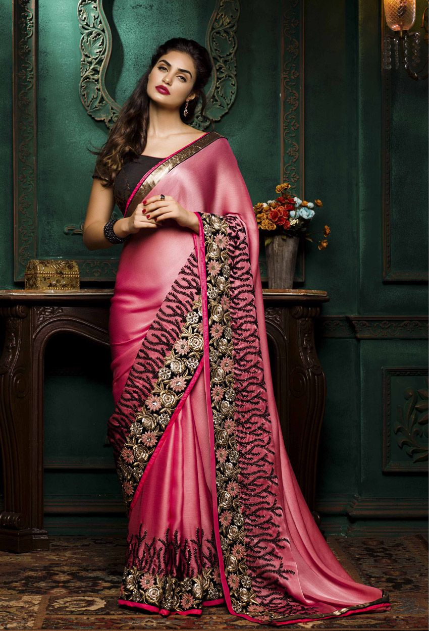 Indian Pakistani Party Wear Saree Bollywood Designer Saree Georgette Fancy Sari