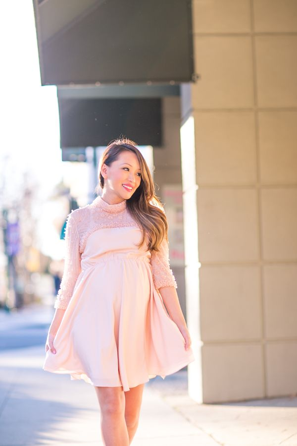 Petite Style, Maternity Dress, Pink Skater Dress, Baby Shower Dress, Spring  Style