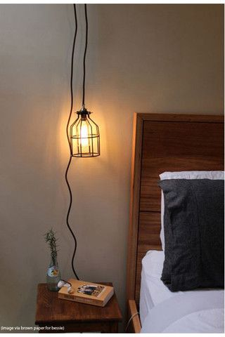 Pendant Light Cord With Wall Plug And Lampholder In Vintage Style Could Hang From Our Bed As Bedside Lights