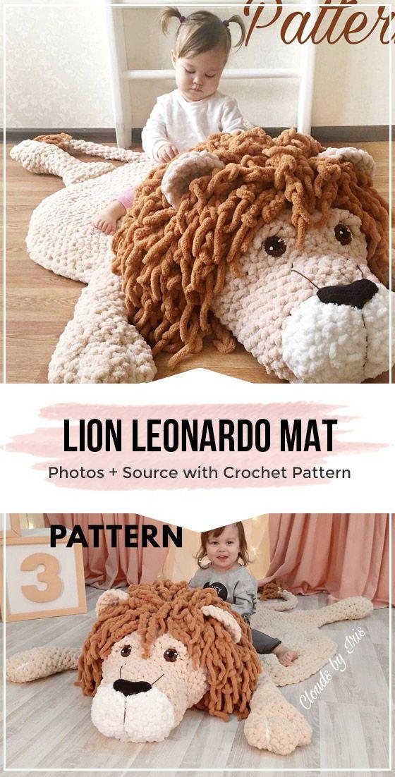 crochet lion Leonardo mat rugs easy pattern #crochetanimalpatterns