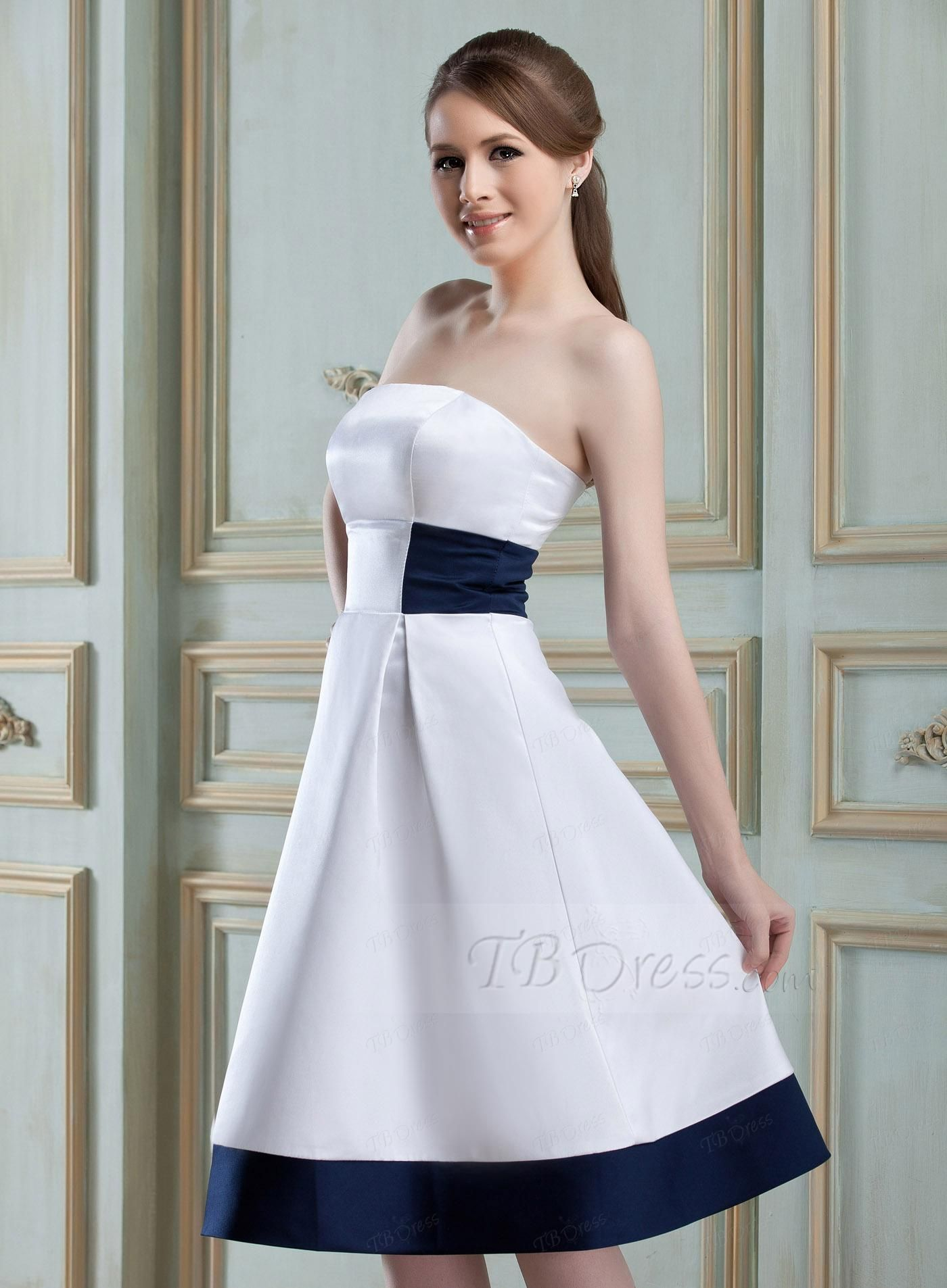 A line strapless knee length zipper up bridesmaid dress ombrellifo Image collections