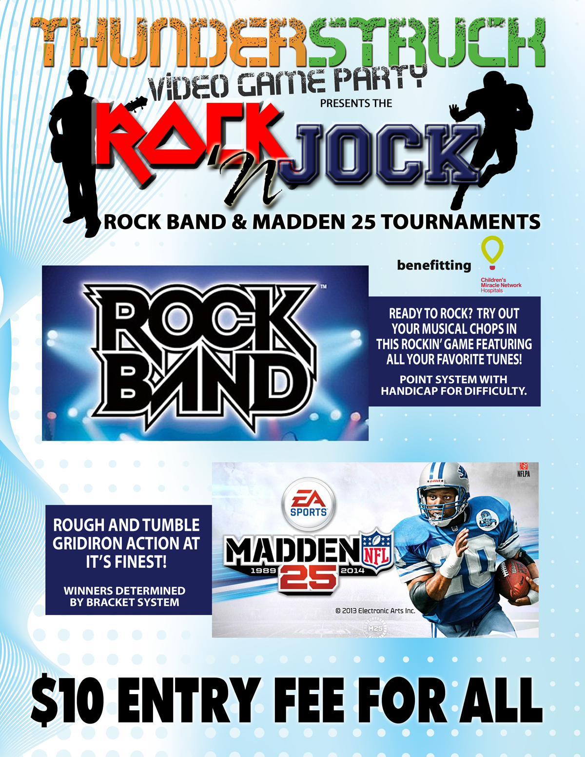 Tournament flyer for Thunder Struck Video Game Party in