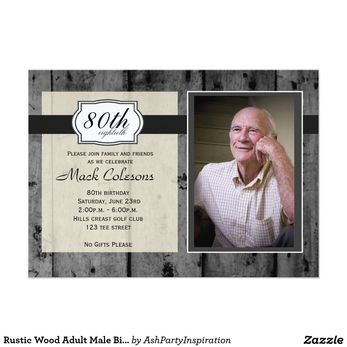 Rustic wood adult male birthday invitation male birthday rustic rustic wood adult male birthday invitation 5 x 7 invitation card filmwisefo Gallery