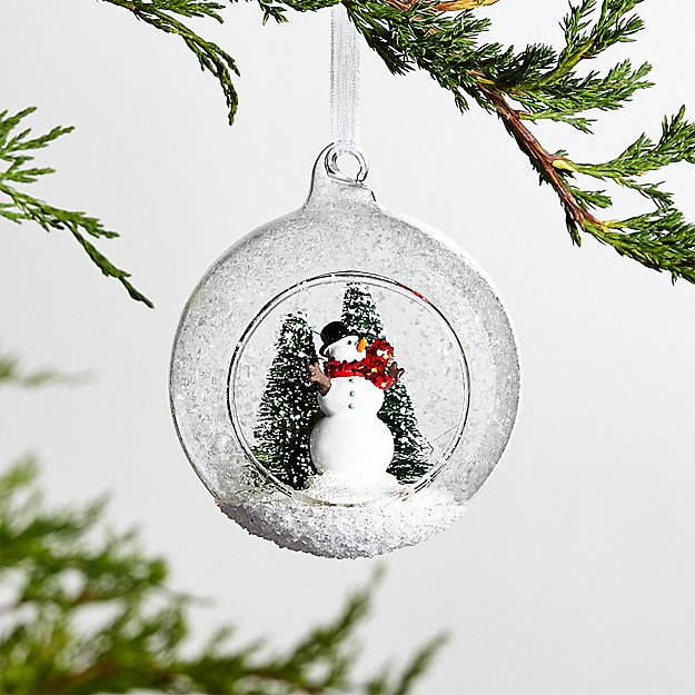 Snowman Snow Globe Christmas Tree Ornament Reviews Crate And Barrel In 2020 Snow Globes Snowman Snow Globe Christmas Globes