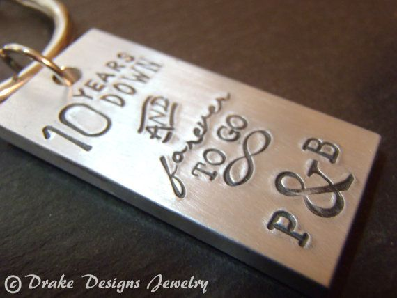 10th Wedding Anniversary Gift For Him: Personalized Keychain Tradional Aluminum 10 Year