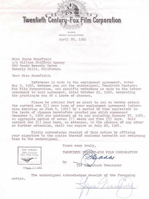 Jayne Mansfield Signed Contract  Autographs    Signed