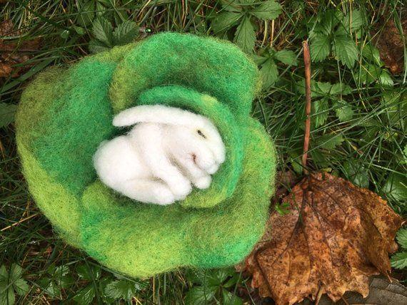 Sleeping Felted Bunny, White rabbit, Needle felted bunny, Baby Bunny Felted, Needle Felted Rabbit, B #needlefeltedbunny