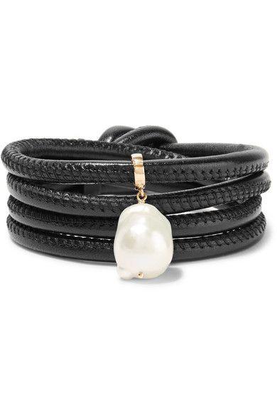 Mizuki Convertible Leather Wrap Bracelet/Choker with Baroque Pearl, Brown