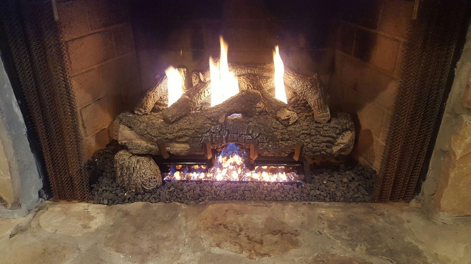 Gas Log Burning Fireplace By Doors By Mike With Images Garage