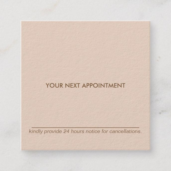 Minimal Typography Peach Square Appointment Card Zazzle