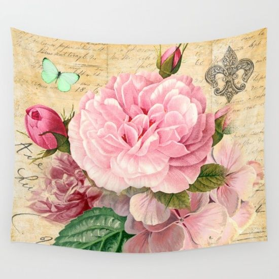 #pink #vintage #nature #watercolor #colorful #flowers #floral #woman #girly #pretty #shabby #spring #summer available in different #homedecor products. Check more at society6.com/julianarw #walltapestry