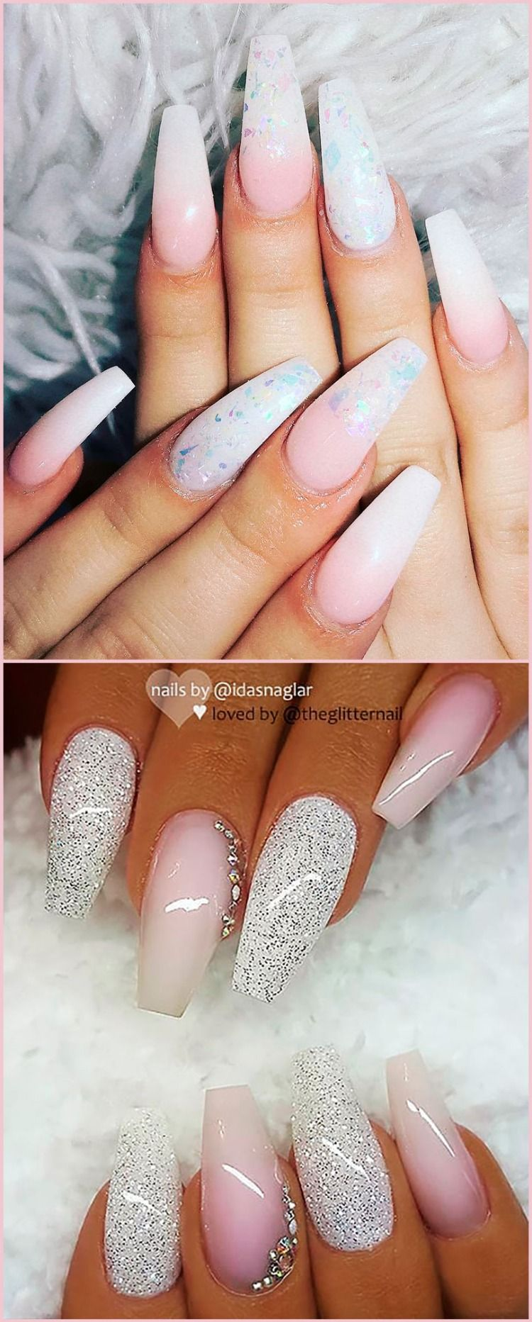 Amazing Pink And White Ombre Coffin Nails Designs Coffinnails Coffinnailshape Glitternails Ombrenails Shiny Nails Designs Pink Ombre Nails Nail Designs