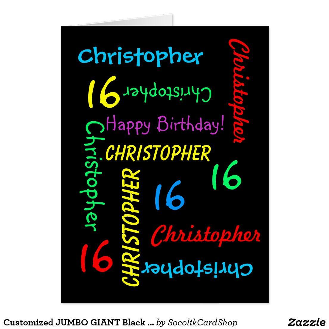 Customized Jumbo Giant Black Birthday Card Any Age Birthday