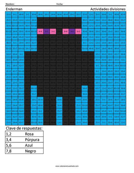Actividades multiplicaciones y divisiones | Coloring Squared ...