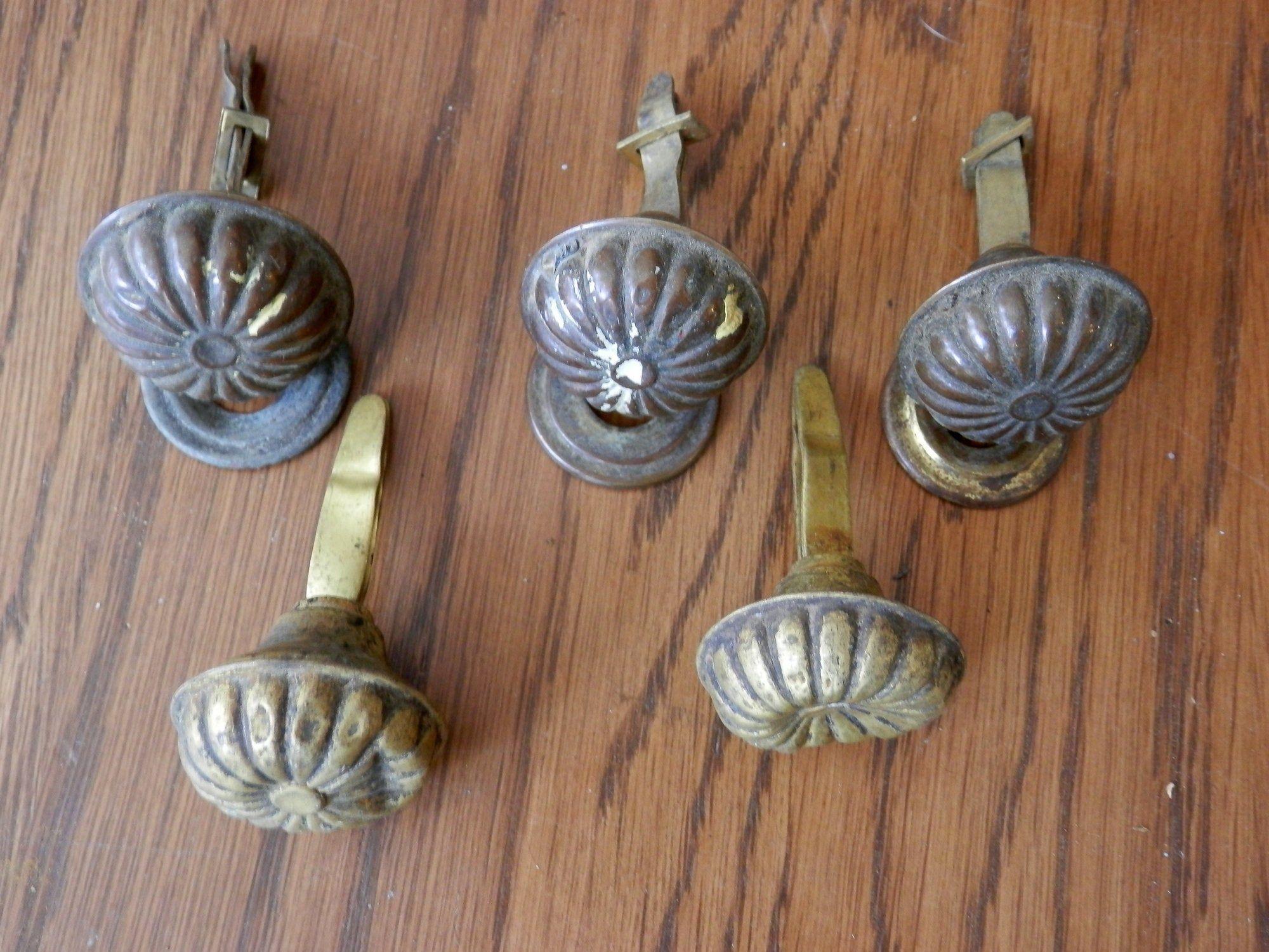 Duncan Phyfe antique hardware  Brass drawer pull cabinet knob..finger pull