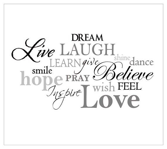 Live Laugh Love vinyl word collage, vinyl word cloud, live laugh love decal, family room wall decal, living room wall art --------------------------------------------------------------- Includes 15 words as shown / Your choice of up to 4 colors: choose main color during checkout and indicate