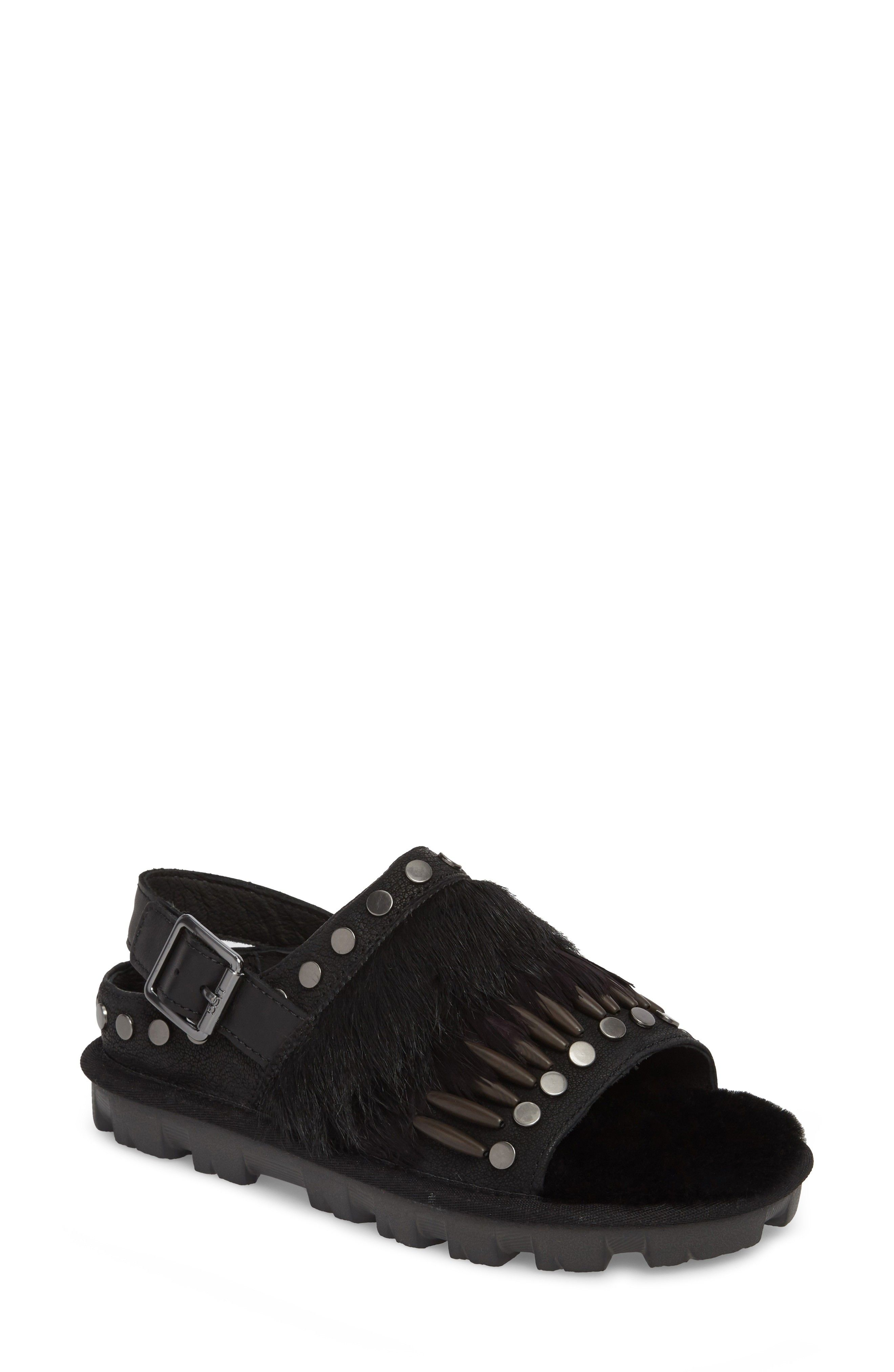 504e1ee70fd UGG | Biker Chic Genuine Shearling & Feather Sandal #Shoes #Sandals ...