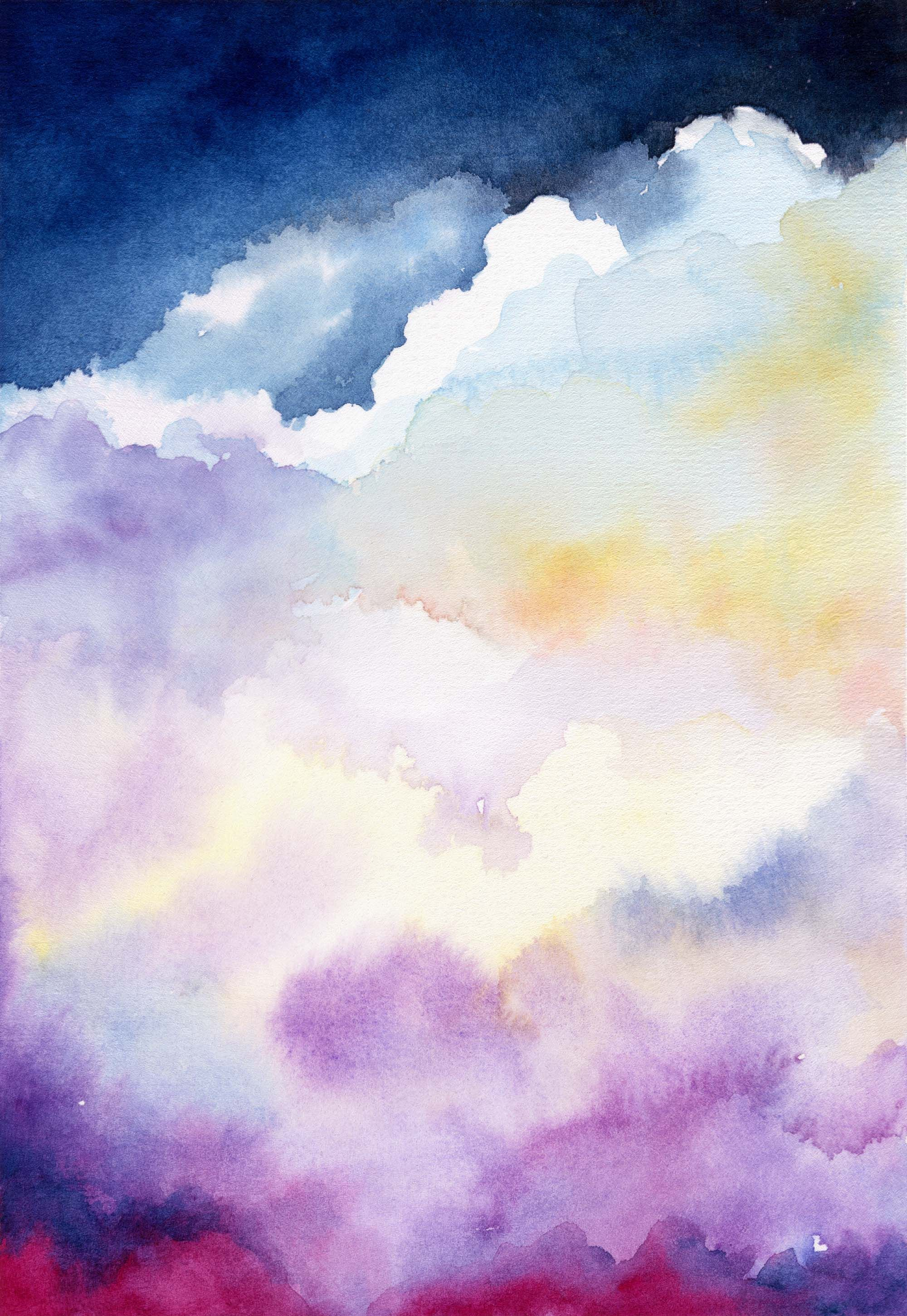 Blue Sky White Clouds Watercolor Painting Art Print By Beverly
